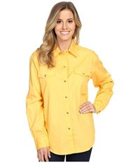 Roper L S Solid Basic Snap Front Yellow Women's Long Sleeve Button Up