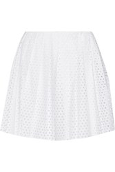 Mcq By Alexander Mcqueen Perforated Cotton Poplin Mini Skirt White