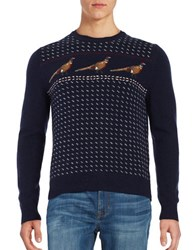 Brooks Brothers Pheasant Accented Wool Sweater Navy