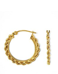 Lord And Taylor 14K Gold Small Braided Hoop Earrings 14K Yellow Gold