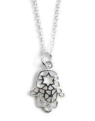 Lord And Taylor Sterling Silver Hamsa Pendant Necklace