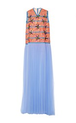 Delpozo Sleeveless Embroidered Tulle Gown Blue Tangerine