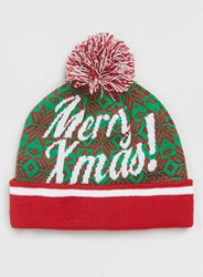 Topman Green And Red Christmas Beanie Multi
