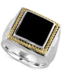 Effy Collection Gento By Effy Onyx Square Ring 1 1 2 Ct. T.W. In 14K Gold And Sterling Silver Black