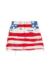 Marc Jacobs American Flag Denim Mini Skirt Multicolor
