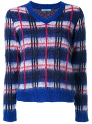 Guild Prime Plaid Contrast Trim Jumper Blue