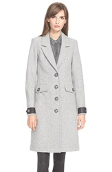 Burberry 'Steadleigh' Leather Detail Single Breasted Reefer Coat Pale Grey Melange