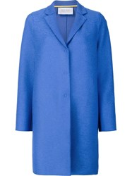 Harris Wharf London 'Cocoon' Single Breasted Coat Blue