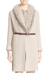 Women's Fabiana Filippi Long Cardigan With Genuine Fox Fur Trim