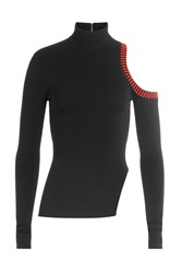 David Koma Knit Turtleneck With Cut Out Shoulder Black