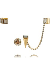Elizabeth Cole Gold Plated Swarovski Crystal And Faux Pearl Ear Cuff And Stud Set