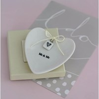 Posh Totty Designs 'Mr And Mr' Ceramic Ring Dish