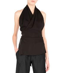 Rick Owens Halter Neck Wrap Blouse Black Men's Size 44