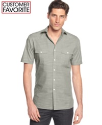 Alfani Big And Tall Short Sleeve Warren Shirt Raw Pebble
