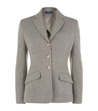 Polo Ralph Lauren Herringbone Wool Blend Blazer Female Grey