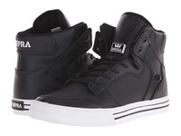 Supra Vaider Black White Leather Skate Shoes
