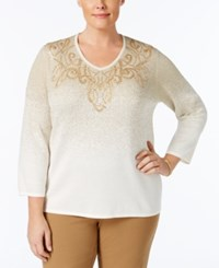 Alfred Dunner Plus Size Tis The Season Collection Embroidered Ombre Sweater White
