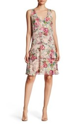 Adrianna Papell Sleeveless Chiffon And Georgette V Neck Flare Dress Multi