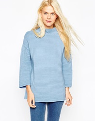 Asos Jumper In Ripple Stitch With Turtle Neck Blue