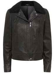 Jaeger Leather Sheepskin Collar Biker Jacket Black