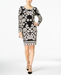 Inc International Concepts Petite Jacquard Sheath Sweater Dress Only At Macy's Deep Black