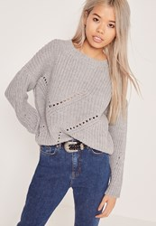Missguided Mini Cable Knit Jumper Grey