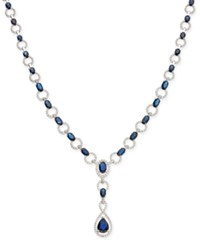 Macy's Sapphire 12 1 2 Ct. T.W. And Diamond 1 Ct. T.W. Lariat Necklace In 14K White Gold Blue