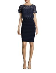 Betsy And Adam Lace Popover Pleated Sheath Dress Navy