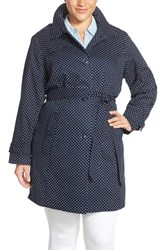 Plus Size Women's London Fog Polka Dot Single Breasted Trench Coat