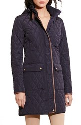 Lauren Ralph Lauren Women's Diamond Quilted Coat With Faux Leather Trim Dark Navy