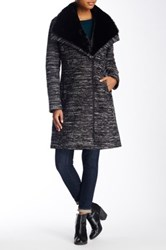 Soia And Kyo Faux Fur Collar Wool Blend Coat Black