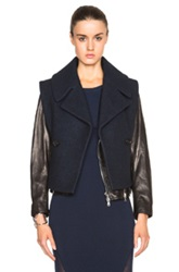 3.1 Phillip Lim Moto Jacket With Detachable Wool Collar In Black Blue