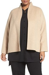 Eileen Fisher Plus Size Women's Brushed Wool Blend Double Face High Collar Jacket Oatmeal