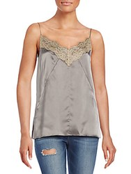Rag And Bone Izabella Lace Trimmed Silk Camisole Brushed Nickel