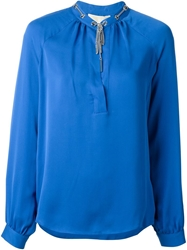 Michael Michael Kors Chain Embellished Collar Blouse Blue