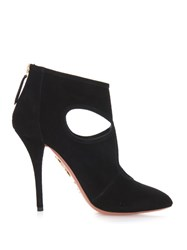 Aquazzura Sexy Thing Cut Out Suede Ankle Boots