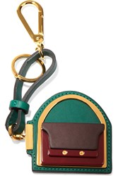 Marni Leather Gold Tone And Acetate Keychain Green