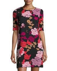 1.State Floral A Line Short Sleeve Dress Black