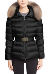 Moncler Women's 'Tatie' Belted Down Puffer Coat With Genuine Fox Fur Trim