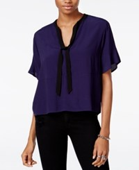 Guess Lorna Printed Tie Detail Top Evening Navy