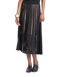 Tracy Reese Flared Stripe Lace Skirt Black