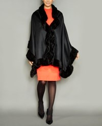 The Fur Vault Knitted Mink Trim Wool Blend Cape Black