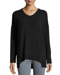Neiman Marcus Active Ribbed V Neck Side Zip Tee Black