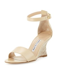 Manolo Blahnik Lauratowe Ankle Wrap Wedge Sandal Women's Size 41.0B 11.0B St Bone Kid 067 B