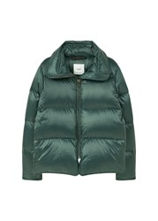 Mango Quilted Feather Coat Green