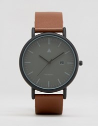 Asos Minimal Watch In Black With Brown Leather Strap Brown