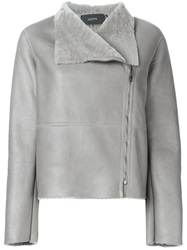 Joseph Off Centre Fastening Shearling Jacket Grey