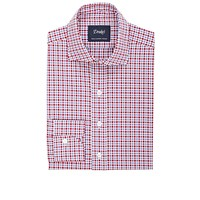 Drakes Plaid Dress Shirt Wine