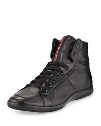 Prada Napa Leather High Top Sneaker Black