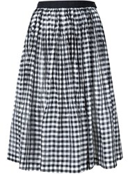 Comme Des Gara Ons Tricot Gingham Print Pleated Skirt White